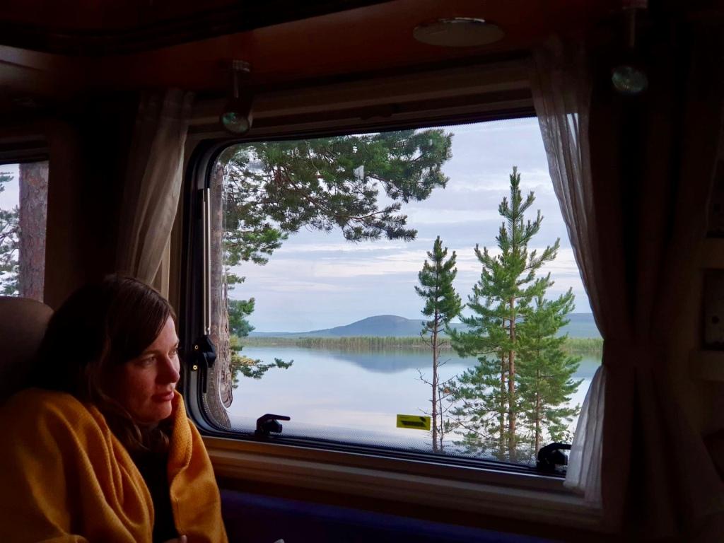 Sweden lake view campervan