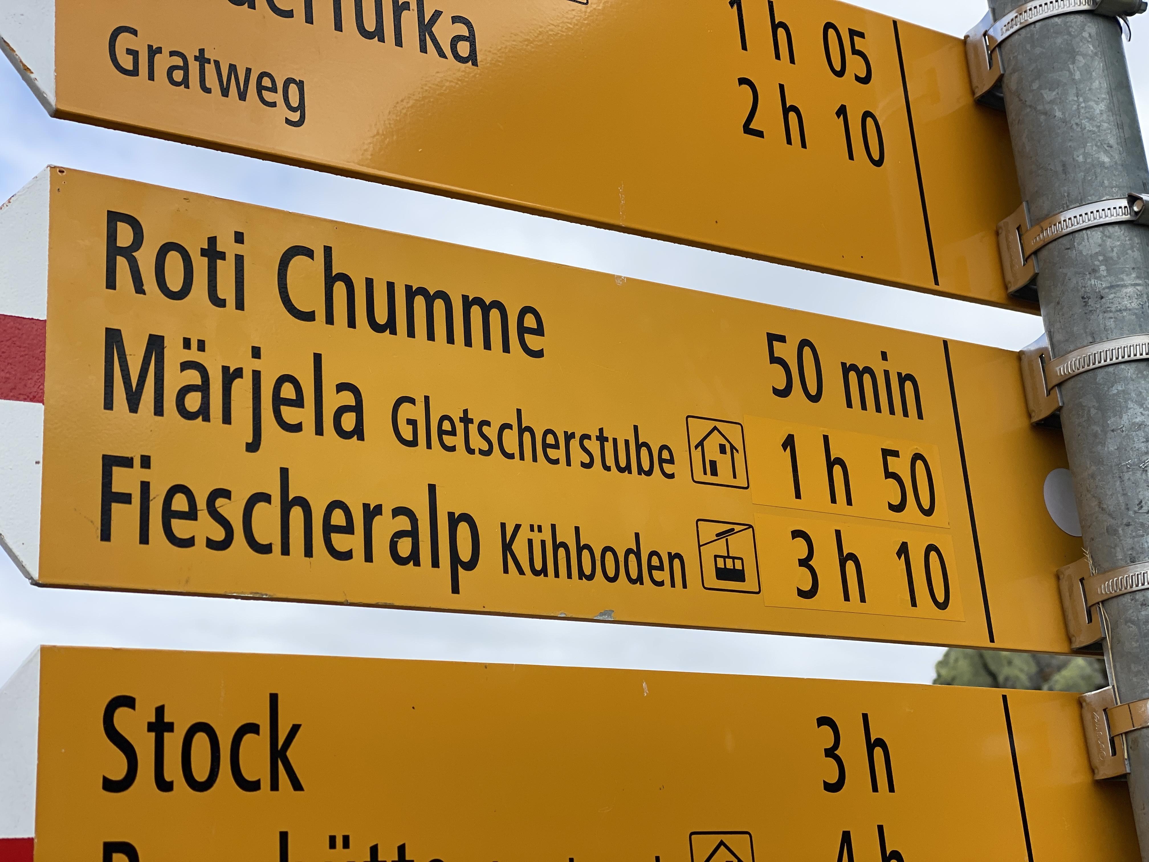 Aletsch Glacier Signs